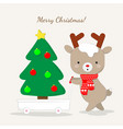 cute reindeer cartoon carrying chirstmas tree vector image