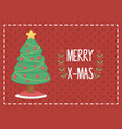 decorated tree with red balls merry christmas card vector image