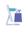 desktop computer and hand holding shopping bag of vector image vector image