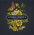 floral bouquet dark design with celandine vector image vector image