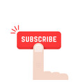 forefinger on subscribe button vector image