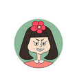 girl facial emotion with beautiful flower on her vector image vector image