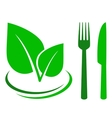 green sign with leaf and cutlery vector image vector image