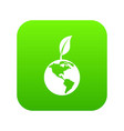 green world qlobe with leaf icon digital green vector image vector image