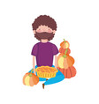 happy thanksgiving day man sitting with cake and vector image