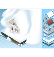 Isometric House Hit by Landslide of Snow vector image