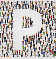 large group of people in letter p form vector image vector image