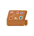leather vintage suitcase with decorative memories vector image vector image