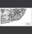 lisbon portugal map in black and white color vector image vector image