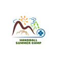 logo handball summar camp fun cartoon logo vector image vector image