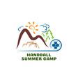 logo handball summar camp fun cartoon vector image vector image