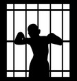 man in jail behind bars vector image vector image