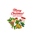 merry christmas wreath decoration icon vector image vector image