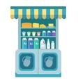 Milk products showcase dairy shelf in the store vector image