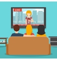 People watching news on television flat vector image