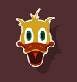 realistic paper sticker on theme funny animal duck vector image vector image