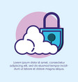 safe secure padlock with cloud computing vector image vector image