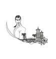 Samurai in Asian Landscape - doodle vector image vector image