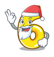 santa with gift number four isolated on the mascot vector image