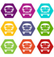 school bus icons set 9 vector image vector image