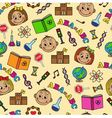 seamless pattern with children and school symbols vector image