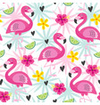seamless pattern with pink flamingo vector image vector image