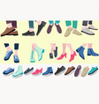 set pairs stylish footwear male and female vector image vector image