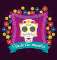skull with flowers and hearts to day of the dead vector image
