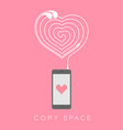 smartphone black color flat design heart icon vector image