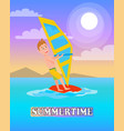 summertime poster windsurf boy windsurfing sport vector image vector image