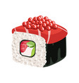 sushi roll with salmon vegetables cream cheese vector image vector image