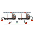 thin line style truck assembly line automatic vector image