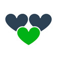 three hearts like colored icon love feedback vector image