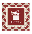 valentines card with a gift in a frame vector image vector image