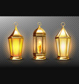vintage gold arabic lanterns with glowing candles vector image