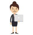 woman holding laptop on white background vector image