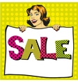 Woman holds white paper poster with Sale sign Pop vector image vector image
