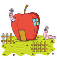 worms inside an apple house vector image vector image