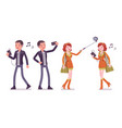 young man and woman with gadgets taking selfie vector image vector image