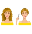 Young woman with hair-dress before and after vector image vector image
