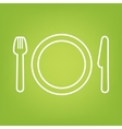 Fork line icon on green background vector image