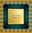 abstract golden square lace frame with paper vector image vector image