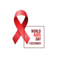 aids awareness red ribbon world aids day 1 vector image
