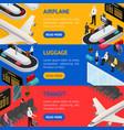 airport zone luggage transit banner horizontal set vector image vector image