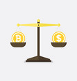 bitcoin vs dollar concept with balance scales vector image vector image