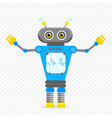 blue cheerful cartoon robot character vector image vector image