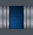 blue metal perforated background with side plates vector image vector image