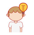 boy with bulb idea and hairstyle design vector image vector image