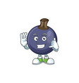 call me blackcurrant cartoon mascot on white vector image vector image