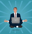 calm businessman hovers in air in lotus pose vector image vector image